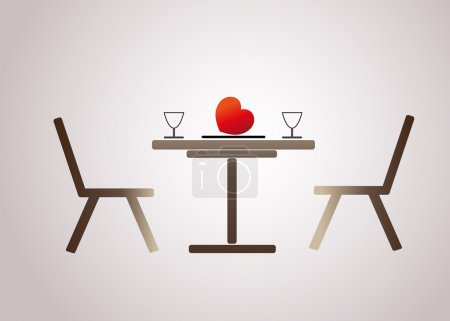 Romantic dinner for lovers. Vector