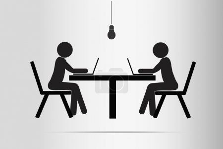 Workaholics, toiling late into the night by the light of lamps. Tables and chairs, workers, office style. Vector.