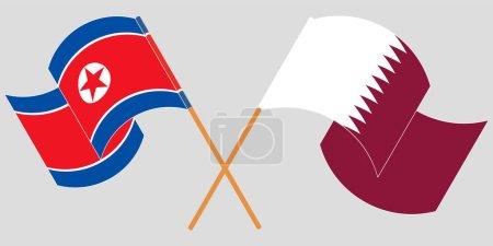Illustration pour Drapeaux croisés et agités de la Corée du Nord et du Qatar. Illustration vectorielle - image libre de droit