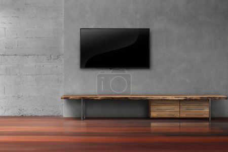 Photo pour LED tv sur mur en béton avec mobilier en bois salon vide loft moderne style loft moderne style - image libre de droit