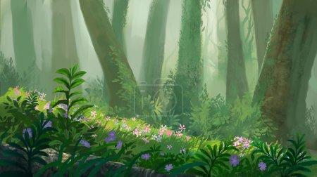 Photo pour Dans l'illustration de peinture de forêt - image libre de droit
