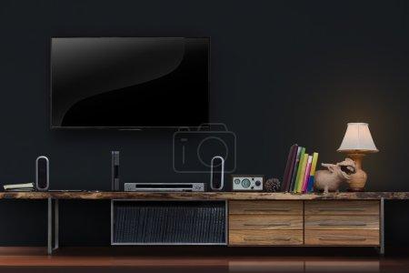 Photo pour Salon conduit TV sur mur en béton avec table en bois meubles multimédia style loft moderne - image libre de droit