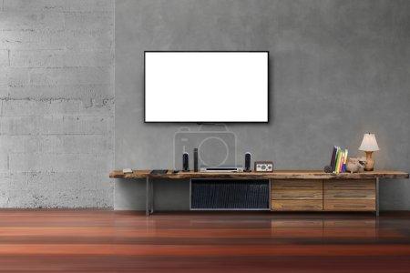 Photo pour Salon blanc led tv écran sur le mur de béton avec table en bois media mobilier moderne style loft - image libre de droit