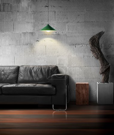 Photo for Black sofa empty wooden and old wood sculpture light of lamp on hard concrete wall in living room loft style - Royalty Free Image
