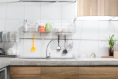 Photo for White kitchen sink interior out focus - Royalty Free Image