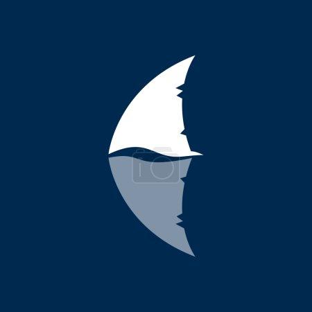 shark fin logo sign on dark blue background
