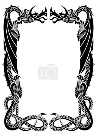Illustration pour Ornement de cadre Dragons isolé sur fond blanc dans la proportion de format A 4 - image libre de droit