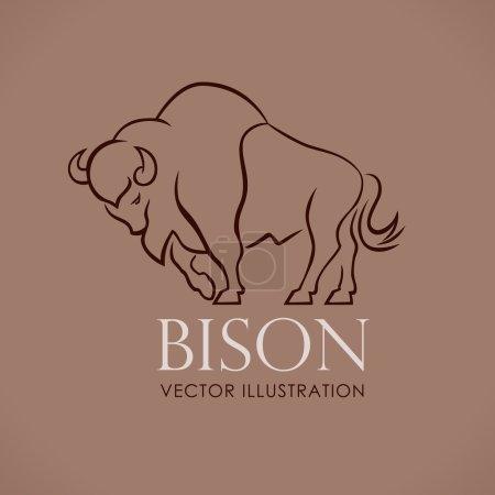 Illustration pour Ligne logo chanter emblème bison sur lite brun backround vecteur illustration - image libre de droit