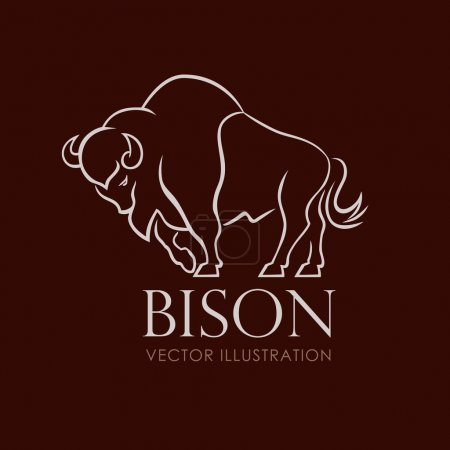 Illustration pour Ligne chanter logo emblème bison sur fond brun illustration vectorielle - image libre de droit