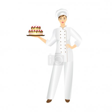 Smiling confectioner  with a fresh cake.