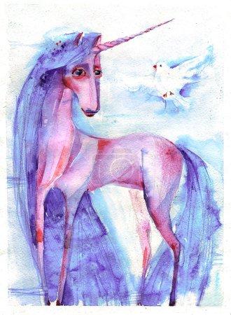 A dove and pink unicorn princess
