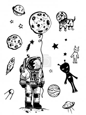 Illustration for Space elements, rocket, stars, dog in space isolated in white background - Royalty Free Image