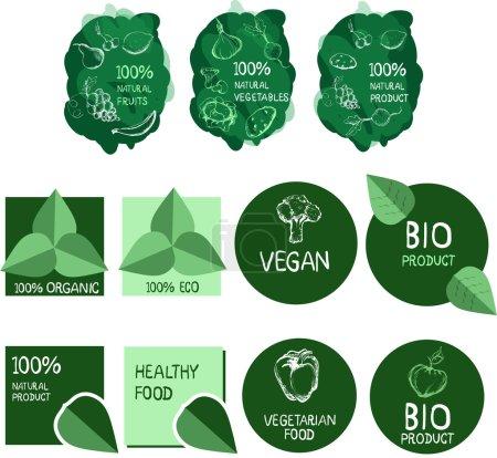 Illustration pour Nourriture végétarienne. Végétalien. Produit biologique. Produit écologique. Fruits et légumes tirés à la main. Soins de santé . - image libre de droit