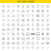 100 thin line icons for Web and Mobile