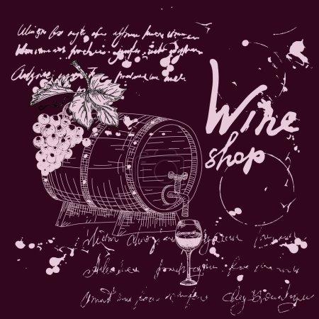 Illustration pour Produits de la viticulture et du vignoble dessin à la main scetch. Raisins, tonneau en bois, verre, texte illisible de style vintage. Collection d'illustrations vectorielles rétro, taches de gribouillis, taches, gouttes d'encre fond noir - image libre de droit