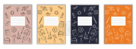 Illustration for Set Cover Notebook school doodles icons hand drawn. Template cover for diary, broshure, poster, sketchbook. Vector illustration isolated - Royalty Free Image
