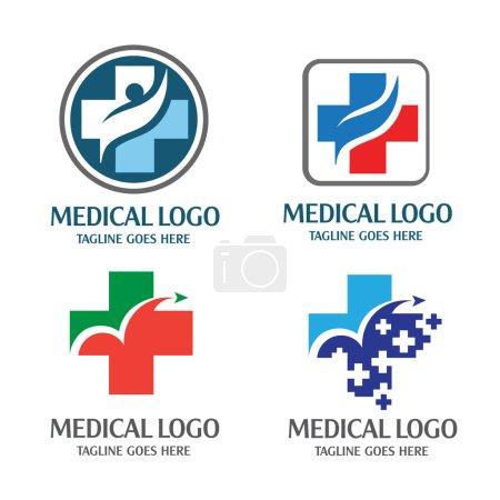 Illustration pour Concept de logo médical, Simple, moderne et accrocheur, meilleur logo croix santé, Simple, moderne et accrocheur - image libre de droit