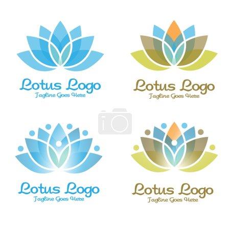 Illustration pour Élégant logo fleur de lotus, moderne et simple logo inspirations de fleur de lotus. logo spa et bien-être - image libre de droit