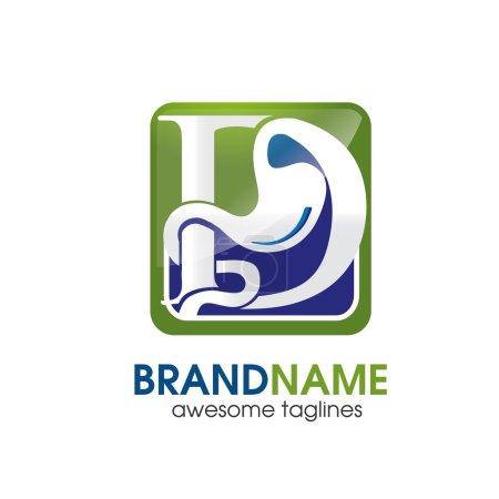 Gastroenterology symbol with letter D Logo