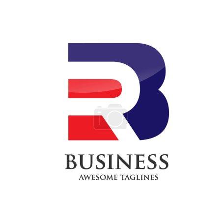 elegant BR, RB  logo vector base from negative letter B and R