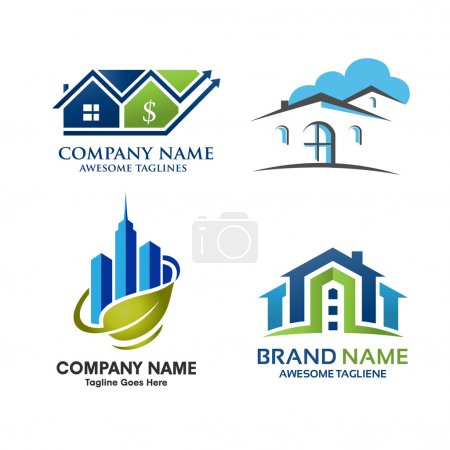 Illustration for Elegant concept of Real Estate home and property Logo Set - Royalty Free Image