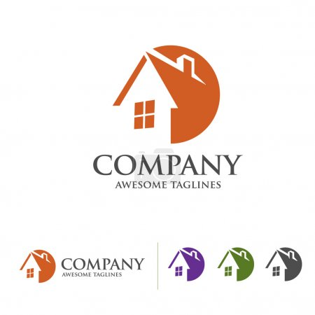 Simple concept house and real estate logo with circle style concept