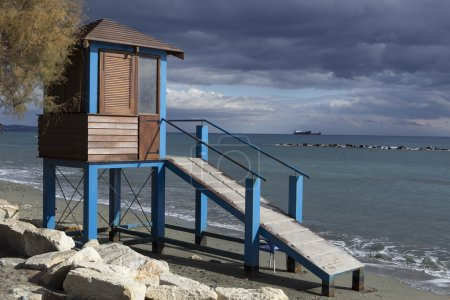 Lifeguard tower on the beach.