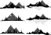 Various vector illustrations of mountains and hills with trees and water All objects can be ungrouped and easily moved around If you want to move or copy an element it is very easy to do so All colors also easily changeable via global swatches so