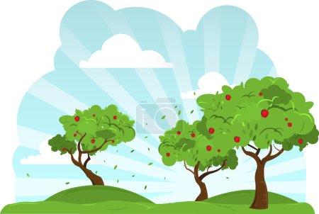 Pommiers dans le vent