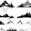 Various vector illustrations of mountains and hills, some realistic, some stylized. All objects can be ungrouped and easily moved around. If you want to move or copy an element it is very easy to do so. All colors also easily changeable via global sw