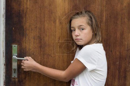 Nervous child coming home afraid of family relationship