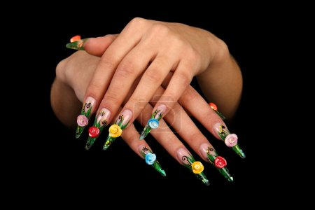 Female hands with manicure, acryle nails.