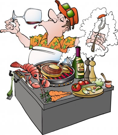 Illustration for Vector cartoon illustration of a grillmaster tasting vine - Royalty Free Image