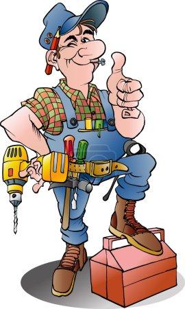 Illustration of a handyman