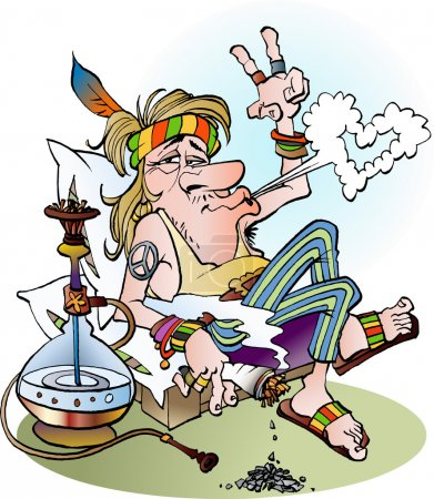 Illustration for Vector cartoon illustration of a hippie smoking a joint - Royalty Free Image