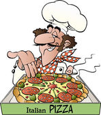Vector cartoon illustration of a pizza baker with text