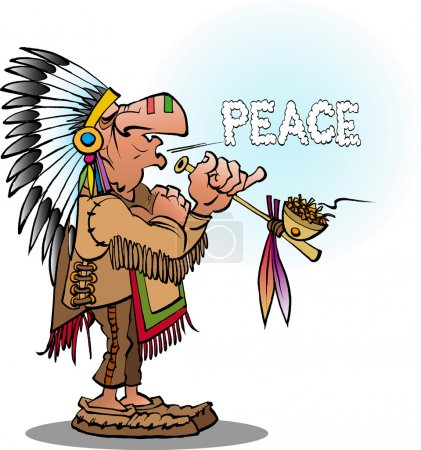 Illustration for Vector cartoon illustration of an indian chief smoking  a pipe blowing peace - Royalty Free Image