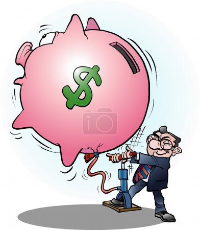 Illustration for Vector cartoon illustration of a businessman inflated economy dollar - Royalty Free Image