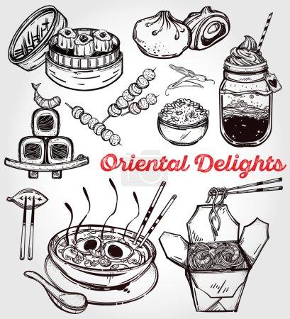 Oriental foods vector set.
