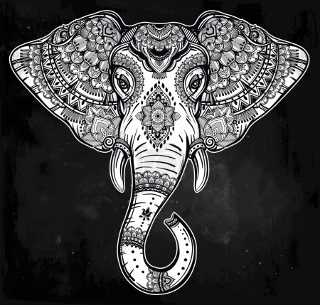 Tribal vector elephant with tribal ornaments.