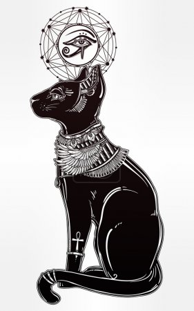 Illustration of Egyptian cat with eye of Horus.