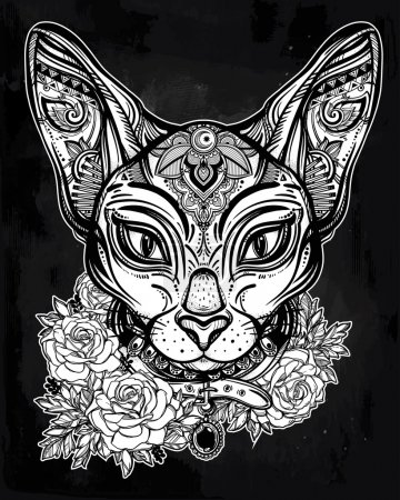 Vintage ornate cat head with floral collar.