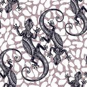 Ornate Gecko lizard Seamless pattern with geckos Beautiful Bohemian ornament Folk henna tattoo style pattern Island summer vector wallpaper