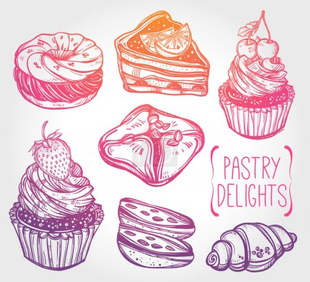 Bakery and pastry icons set in vintage style.