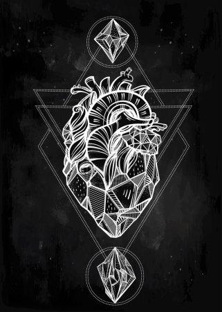 Heart of stone vector art.