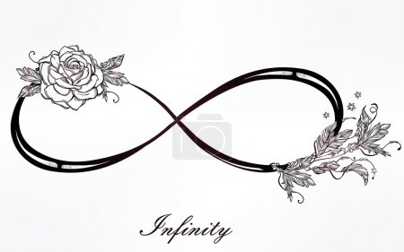 Infinity sign with rose.