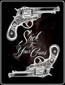 Hand drawn Retro Gun Revolvers Pistol bullets in vintage style Ornate beautifully detailed tattoo design element Vector illustration isolated Cards t-shirts scrap-booking print concept art