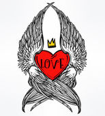Doodle style heart with angel wings and crown Symbol of love for Valentines day concept tattoo design or pop art textiles Isolated vector illustration