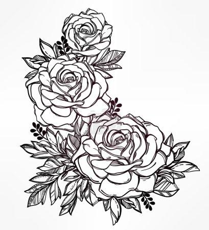 Vintage floral  hand drawn rose flower stem.