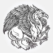 Hand drawn vintage Griffin mythological magic winged beast Victorian motif tattoo design element Heraldry and logo concept art Isolated vector illustration in line art style